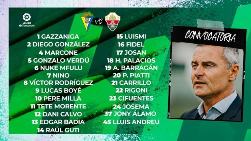 Escribá se lleva a 25 jugadores a Cádiz