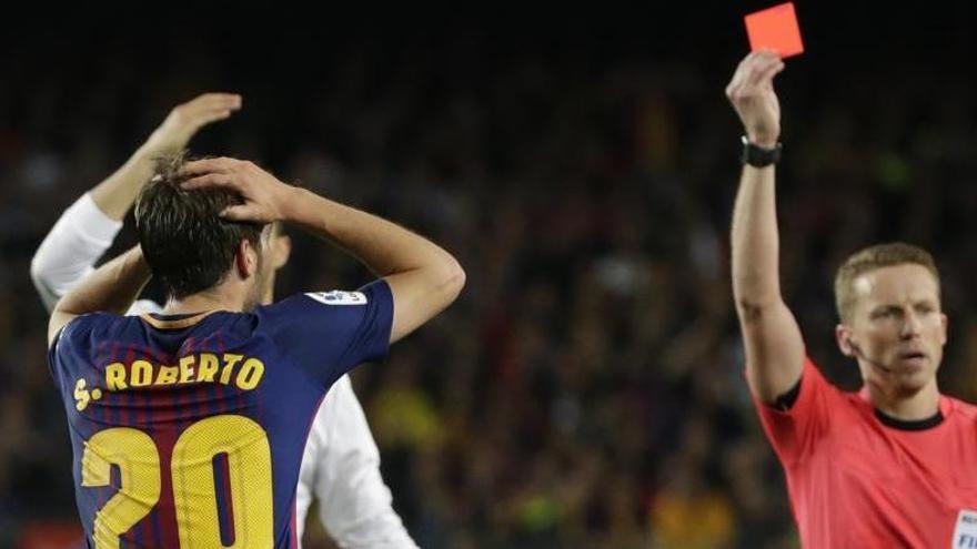 Quatre partits de sanció a Sergi Roberto per l'expulsió contra el Madrid