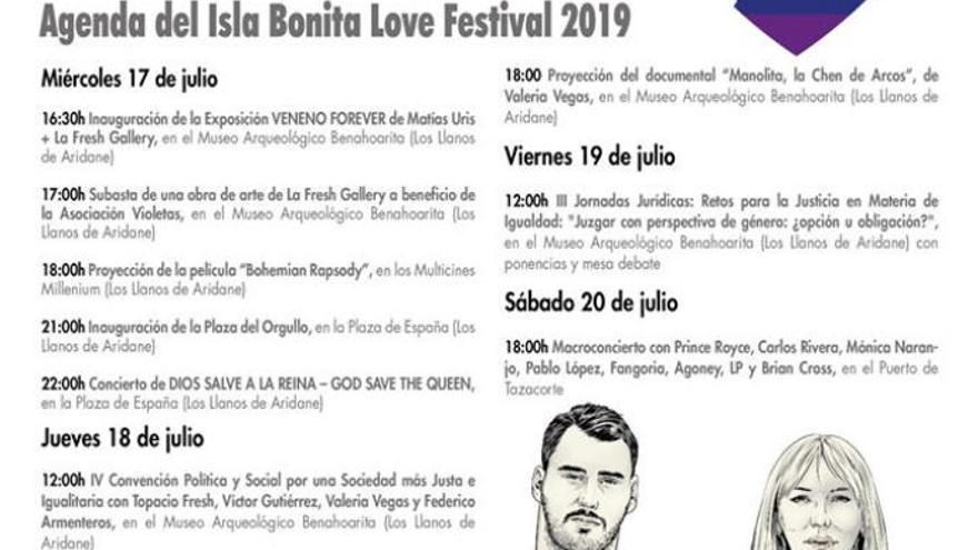 Agenda de actos del Isla Bonita Love Festival