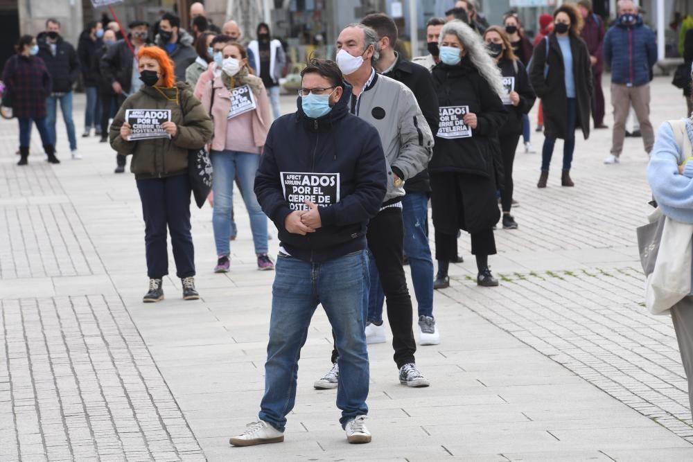 Protesta de los hosteleros en María Pita