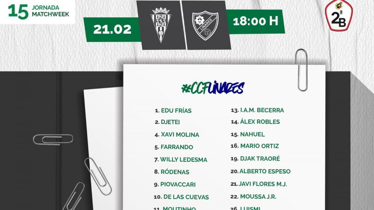 Javi Flores regresa a la convocatoria del Córdoba CF para medirse al Linares Deportivo