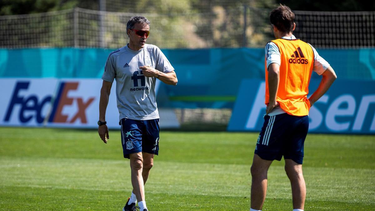 Luis Enrique en un entrenamiento de la selección española.