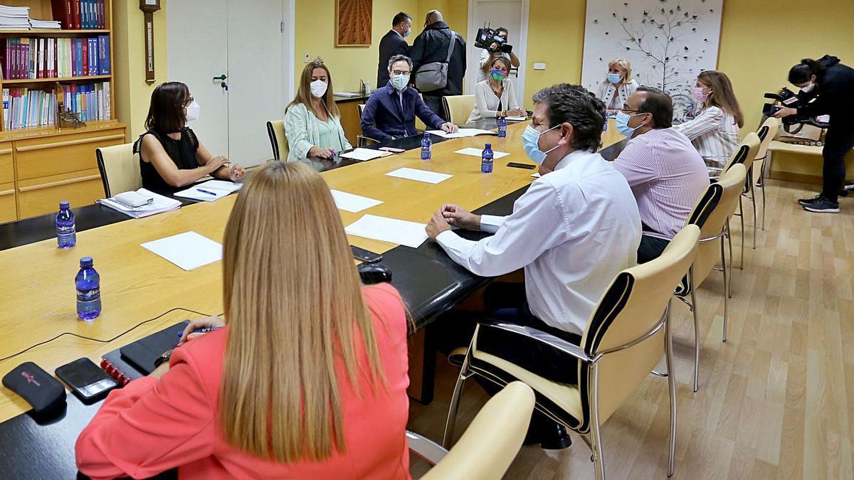 Carriedo, de espaldas y segundo por la izquierda, durante la reuníon de ayer con los representantes de los partidos políticos en las Cortes.   Ical