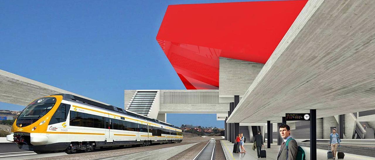 Infografía donde se observa cómo será una de las estaciones del tren al Sur. | | LP/DLP