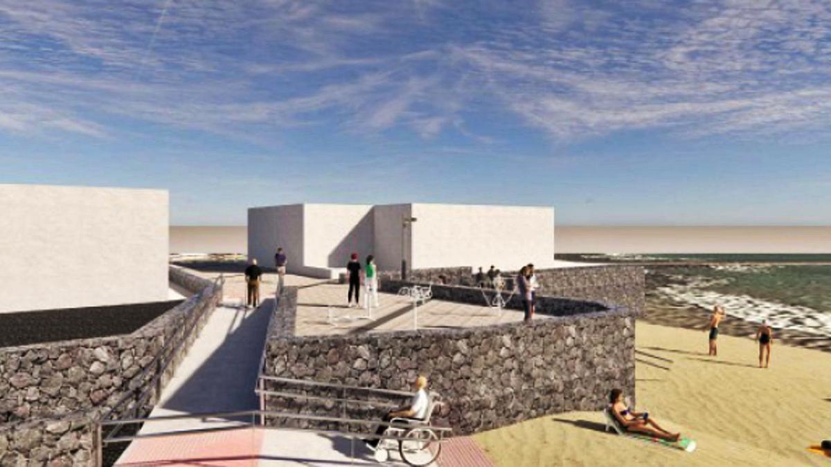 Infografía del aspecto que tendrá la playa de La Garita después de la finalización de las obras.     LP/DLP