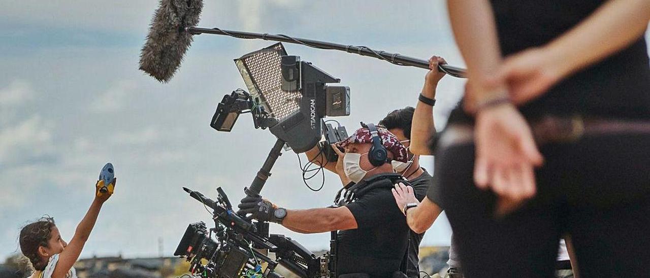 Imagen de un rodaje cinematográfico en una de las playas del Archipiélago . | |