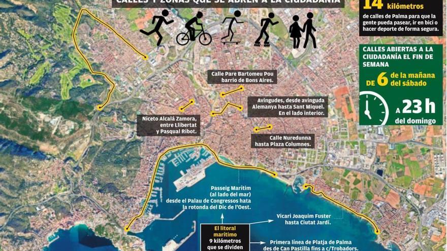 El Ayuntamiento cierra a la circulación 14 kilómetros de calles los fines de semana