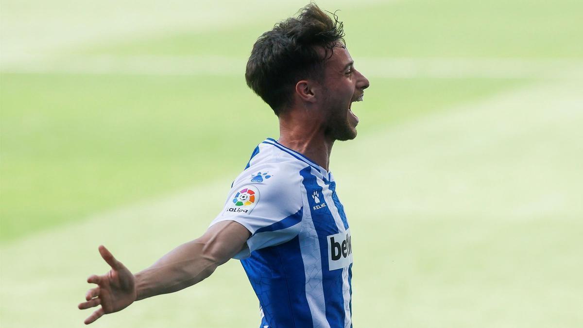 Puado celebra un gol anotado en el Espanyol.