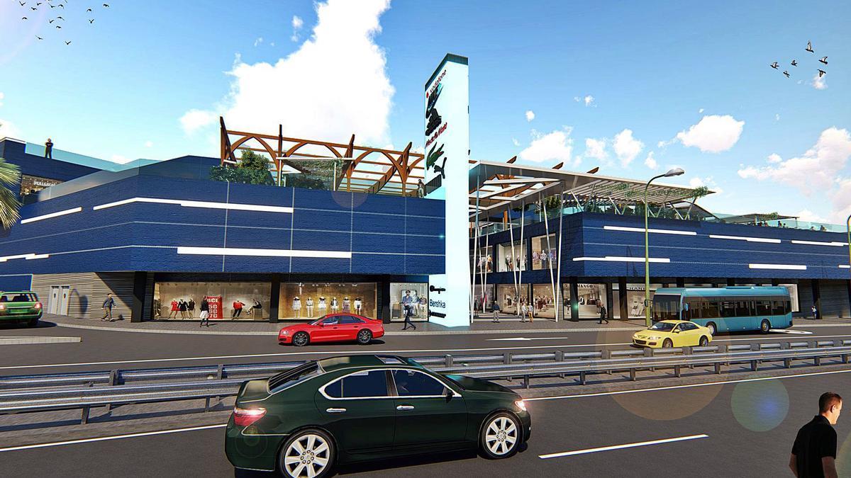 Infografía del exterior del futuro Centro Comercial Playa del Inglés.