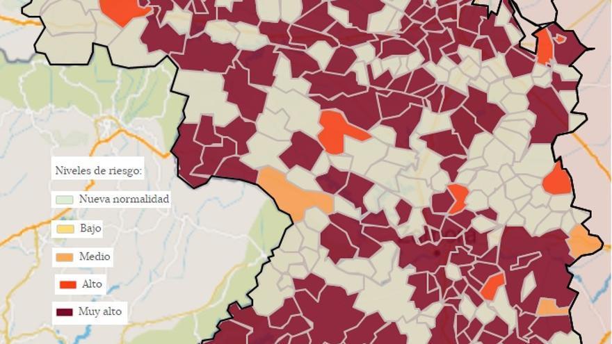 Mapa de contagios COVID Zamora por municipios: Sayago, única comarca de empeora