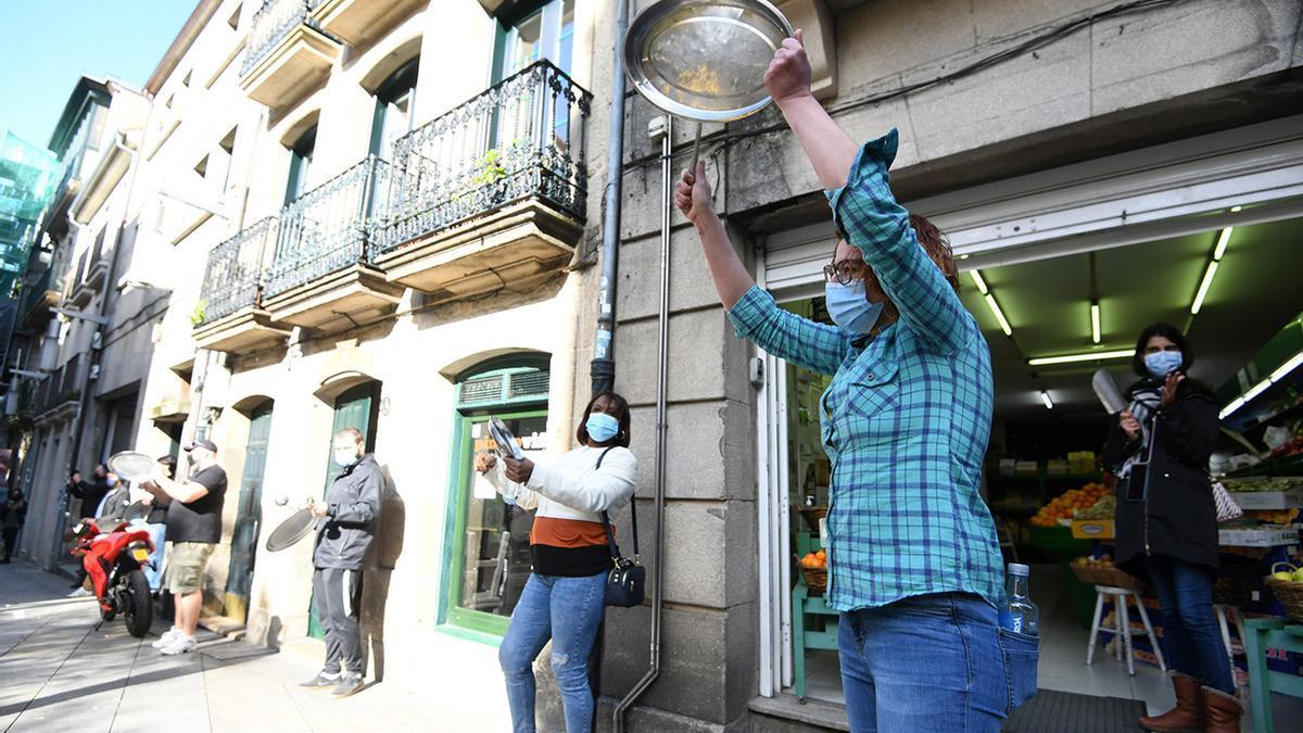 Protesta de hosteleros en Pontevedra contra las restricciones de la Xunta
