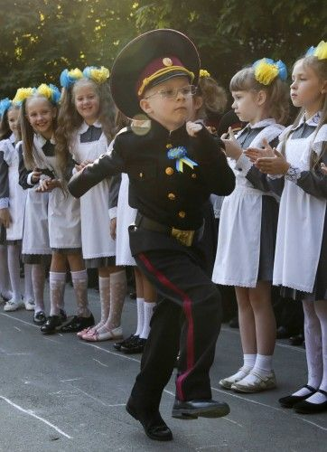 First graders of cadet's lyceum attend ceremony to mark start of new school year in Kiev