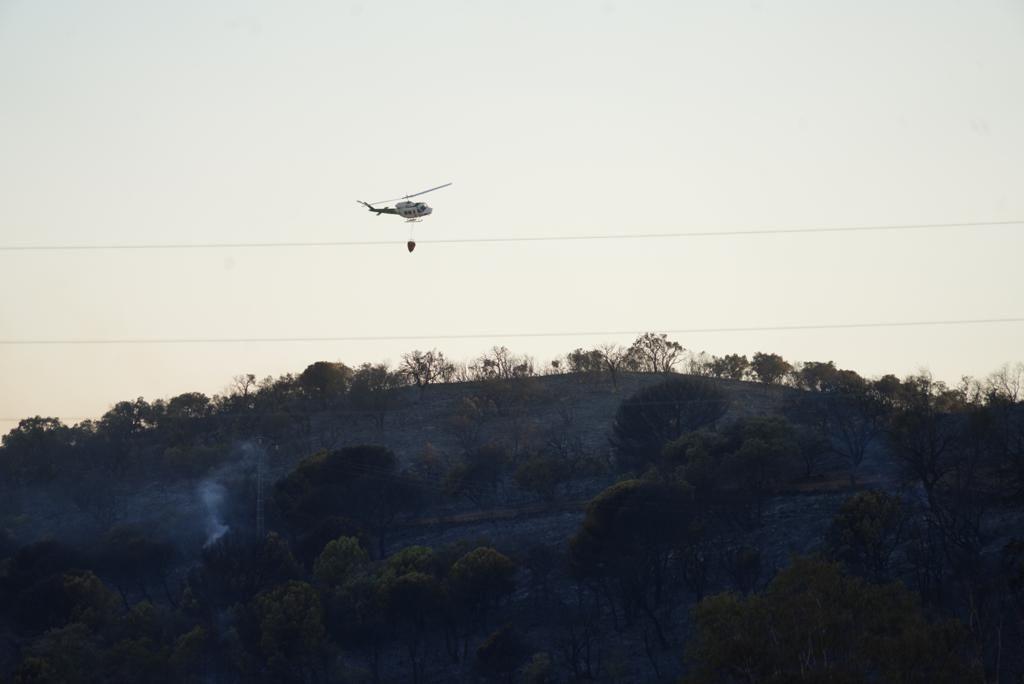 Incendio forestal en en el puerto del Calatraveño