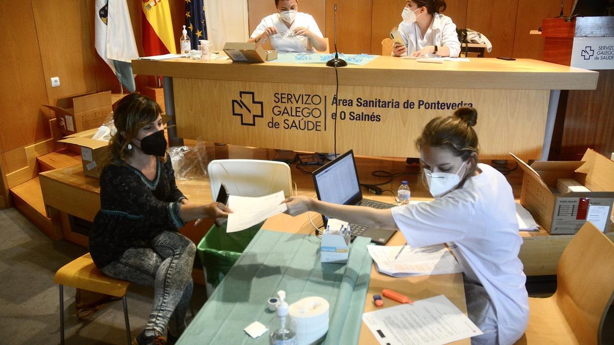 Jornada de vacunación, ayer en Montecelo.