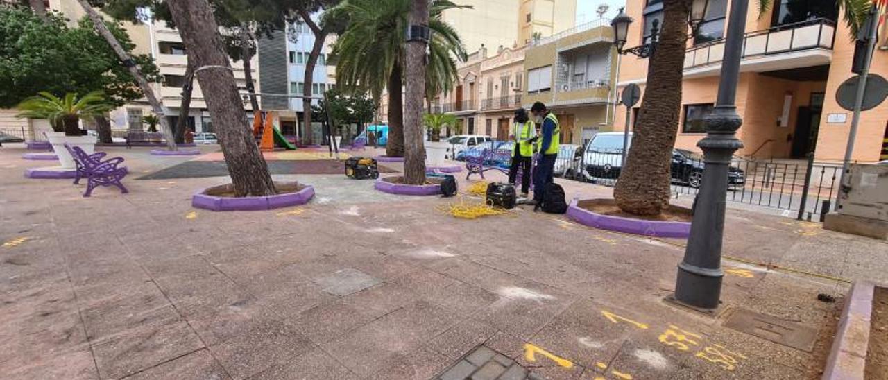 Trabajos geométricos iniciados esta semana en la Plaça del Jardí, en Albal. | A.A.