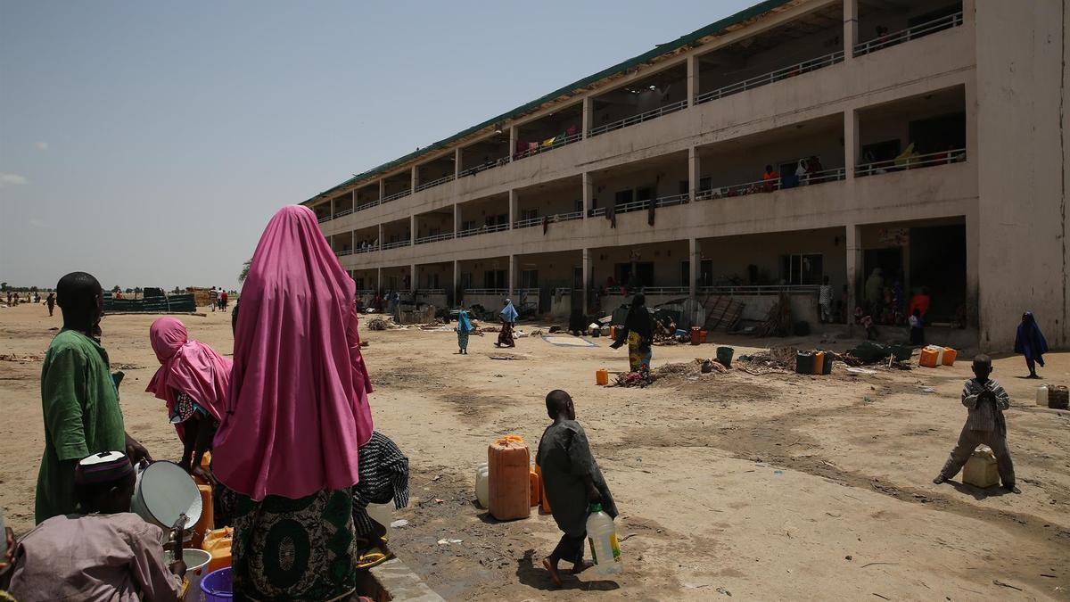Desplazados en un campo a las afueras de Maiduguri, en el estado de Borno, en el noreste de Nigeria.