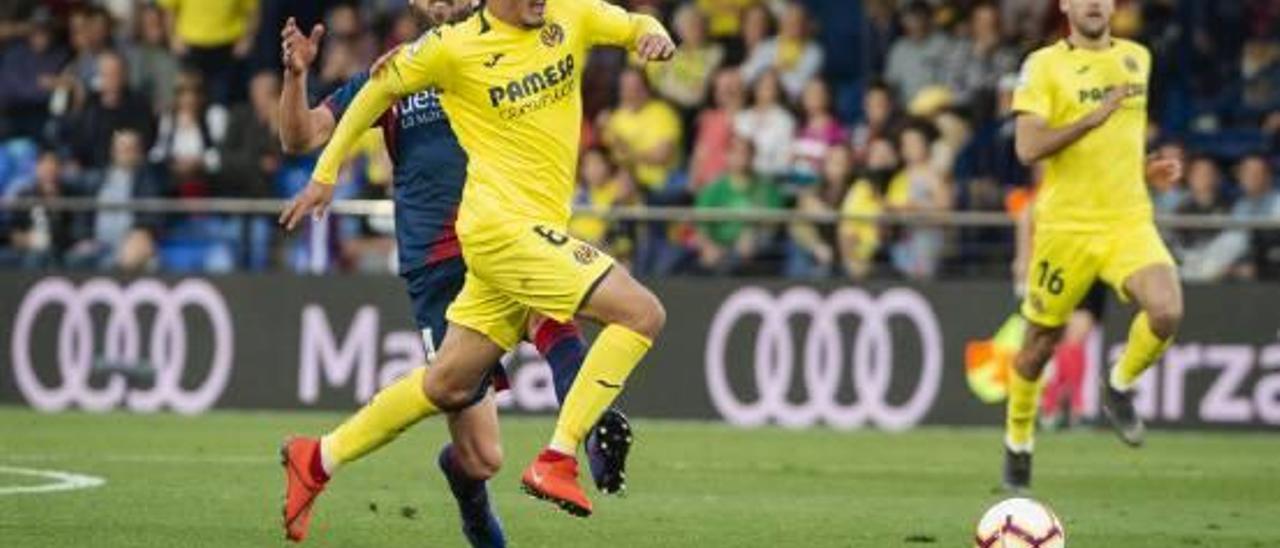 Fornals y Pedraza, en el encuentro contra el Huesca en el Estadio de la Cerámica.