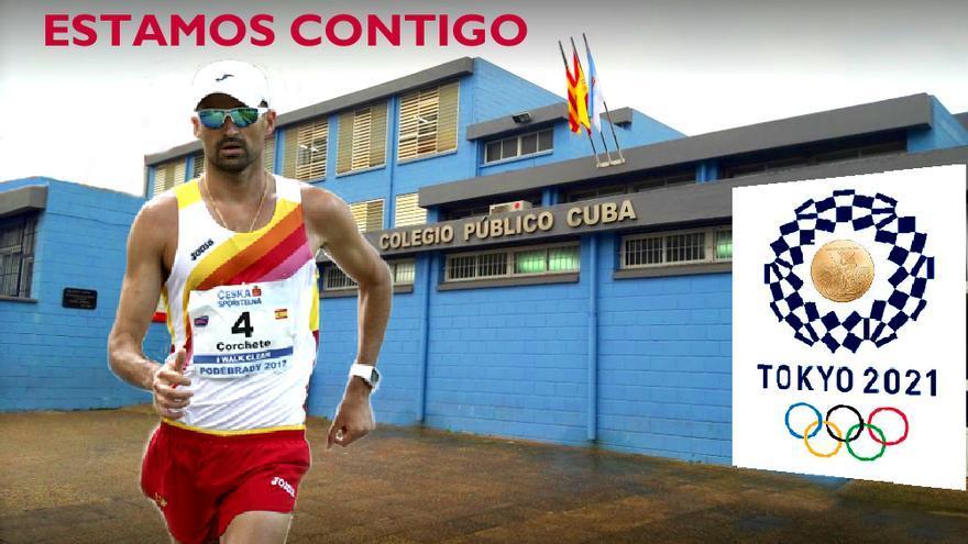 Así apoya el Colegio Cuba al atleta torrevejense Luis Manuel Corchete que compite en los 50 kilómetros marcha de las Olimpiadas de Tokio